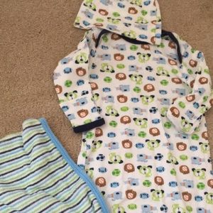 Cotton baby gown, hat, & terry burp cloth